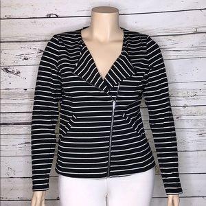 Mossimo NWT XL Black White Stripe Knit Moto Jacket